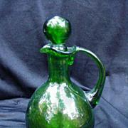 Vintage Green Blown Glass Cruet with Applied Handle