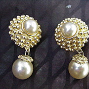 Vintage Pair of Clip Earrings, Blair Delmonico Jewelry, Simulated Pearl Drops