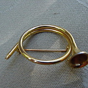 Vintage, Hunting Horn Gold-Tone Pin