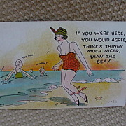 Humorous Postcard of Bathing Beauty, 1930s