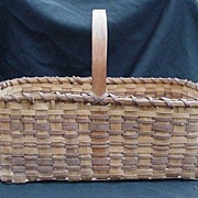 Vintage Wood Strip, Egg or Garden Basket, Two-Toned