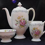Royal Doulton English  Bone China Coffee Pot, Cream & Sugar