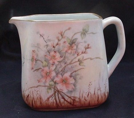 Hand-Painted, Artist Signed, Dogwood Blossom Porcelain Pitcher, Bavaria