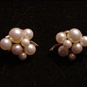 Majorica Simulated Pearl Cluster Earrings, Clips
