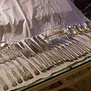 30 Piece Set Y.K. & Co. Silverplated Flatware, Floral Decorated Handles
