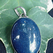 Sterling Silver Pendant, Blue Stone