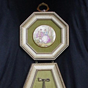 Hand-Enameled Porcelain Plaques in Goldtone Mounts, Fragonard Inspired Scenes