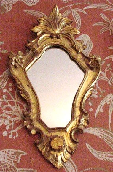 Vintage Giltwood Florentine Mirror, Elaborate Shield-Shaped Body