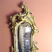 Elaborate  Vintage Gilded Wall Sconce, Asymmetrical Shape, Bamboo Columns, Flowers, C-Scrolls