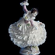 Volkstedt Dresden Lace Graceful Dancer Porcelain Figurine