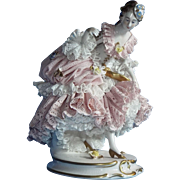 Volkstedt Lady in Pink Dresden Lace Porcelain Figurine