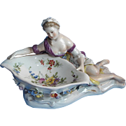 Early Volkstedt Porcelain Semi Nude Woman Figural Pin Dish, Dresden Germany