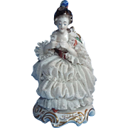 Volkstedt Dresden Lace Seated Lady with Teacup Porcelain Figurine