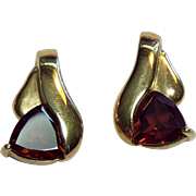 14k Yellow Gold and Trillion Cut Red Garnet Earrings