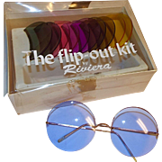 1960-70s Riviera Round Flip-Out Sunglasses Kit with 6 Interchangeable Lens