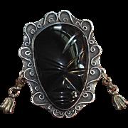 Large Vintage Sterling Silver & Black Onyx Face Brooch or Mask