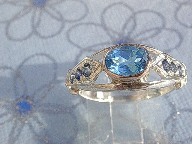 Sterling Silver/9kt Rose Gold Blue Topaz & Multi Sapphires Artisan Ladies Ring