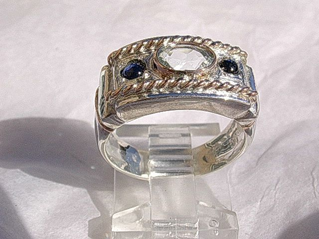 Sterling Silver/Rose Gold Aquamarine/Sapphires Artisan Ladies Ring