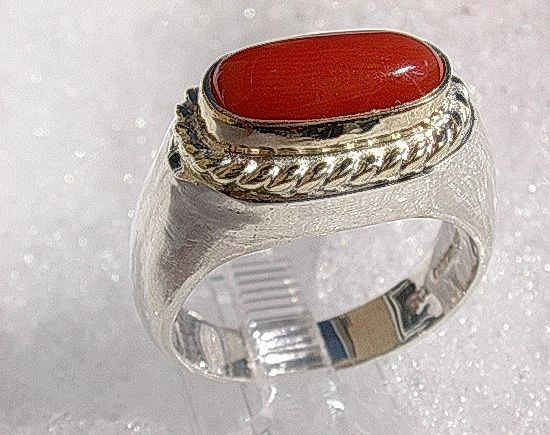 Sterling Silver/Yellow Gold Burnt Orange/Red Coral Ladies Artisan Ring