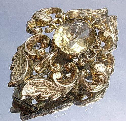9kt Gold Victorian Citrine Brooch