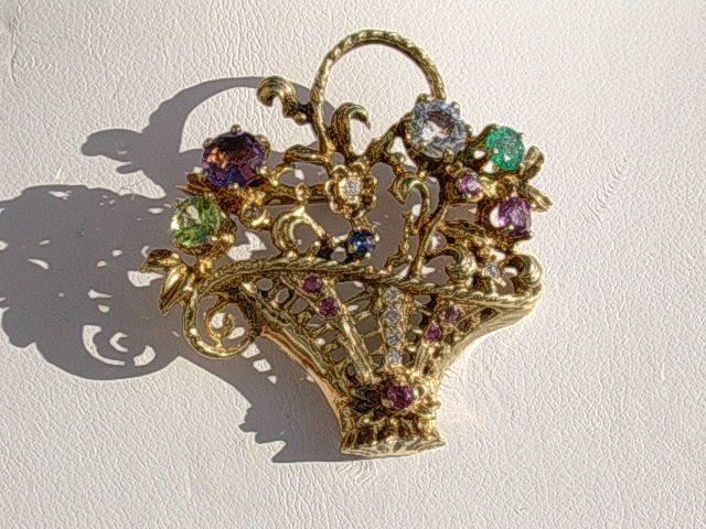 10kt Basket Full of Gemstone Flowers Brooch