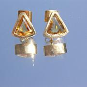 18kt Vintage Triangle Cut Citrine Stud Earrings