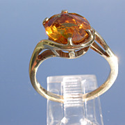 14kt Vintage Honey Golden Citrine Ladies Ring
