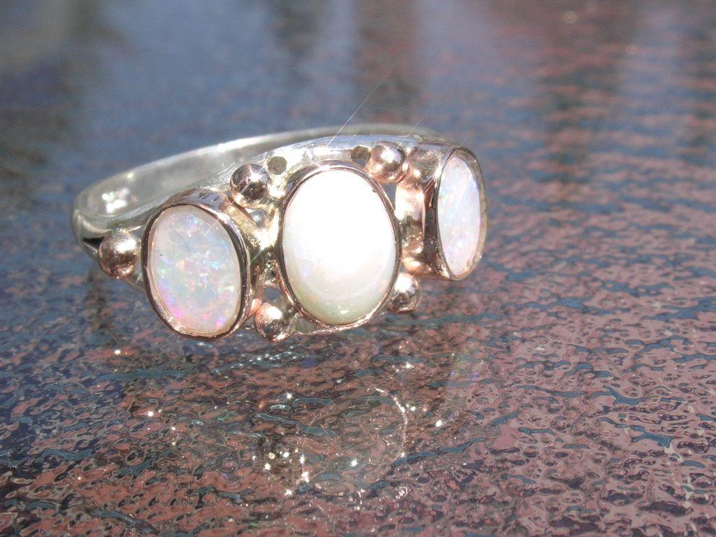 Sterling/9kt Vivacious Triple Fiery Opal Ladies Ring
