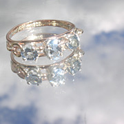 9kt Pink Gold/Sterling Triple Aquamarine Ladies Ring