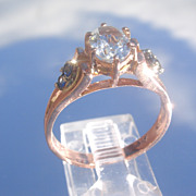 9kt Rose Gold Aquamarine/Sapphire Ladies Ring