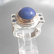 Sterling/9kt  Lapis Lazuli /Multi Sapphire Unisex Ring