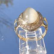 14kt Dark Grey Moonstone Multi Diamond Ladies Ring