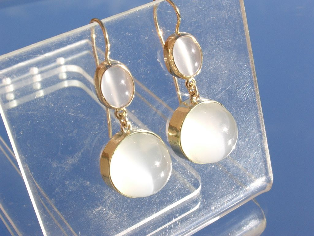 14kt Multi Moonstone Dangle Earrings