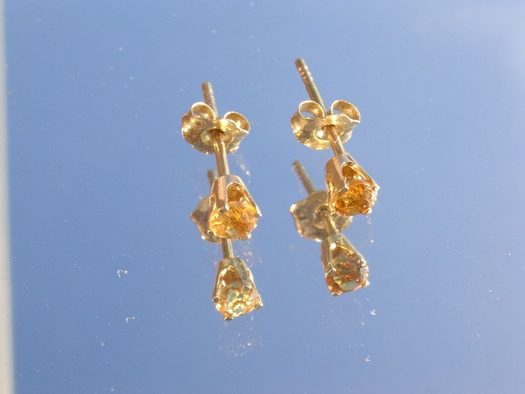 14kt Vintage Citrine Stud Earrings