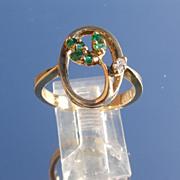 14kt Vintage Emerald/Diamond Leaf Ladies Ring