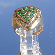 14kt Vintage Multi Emerald/Diamond Ladies Ring