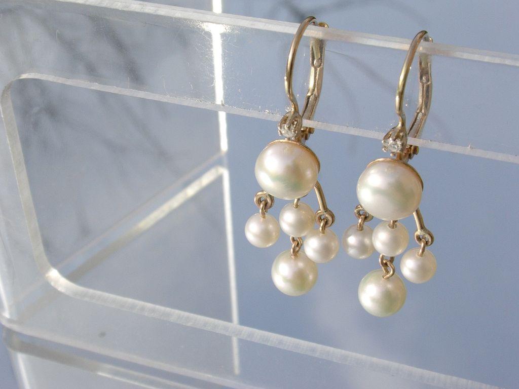 14kt Diamond Multi Pearl Dangle Earrings