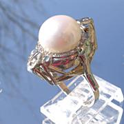 14kt White Gold Vintage Large Freshwater Pearl/Multi Diamond Ladies Ring