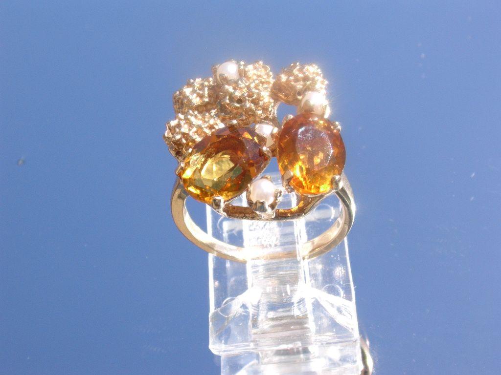 10kt Vintage Citrine/Seed Pearl Ladies Ring