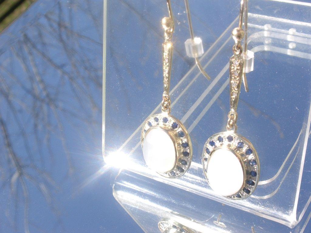 14kt /Sterling Moonstone/Sapphire/Diamond Dangle Earring