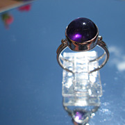 Sterling/9kt Lilac Purple Amethyst Cabochon Ladies Ring