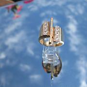 14kt Vintage Large Rectangular Multi Diamond Ladies Ring