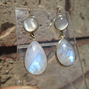 14kt Yellow Gold Round Moonstone and Drop Faceted Rainbow Moonstone Dangle Earrings