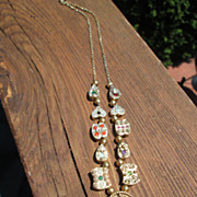 Sterling/Vermeil Finish Multi Gemstone Slide Necklace