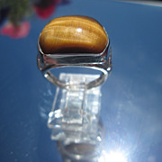 Sterling Arched Rectangular Tiger-Eye Unisex Ring
