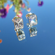 Sterling-14k Gold Post  Emerald Cut Cubic Zirconia Stud Earrings