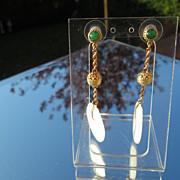 14kt Yellow Gold Multi Jade Dangle Earrings