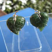14k Carved Green Jade Leaf Earrings