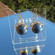 9kt Yellow Gold Large Round Royal Blue Cabochon Lapis Lazuli Dangle Earrings
