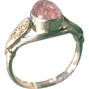 Sterling Silver/9kt Yellow Gold Light Pink Tourmaline Ladies Ring